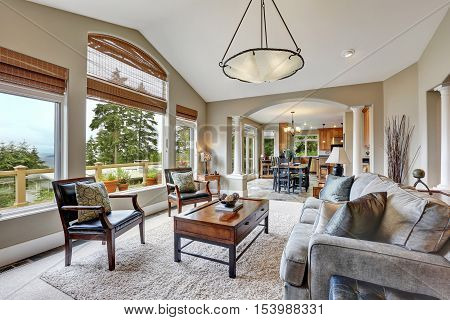 Open Plan Living Room Interior In Luxurious House