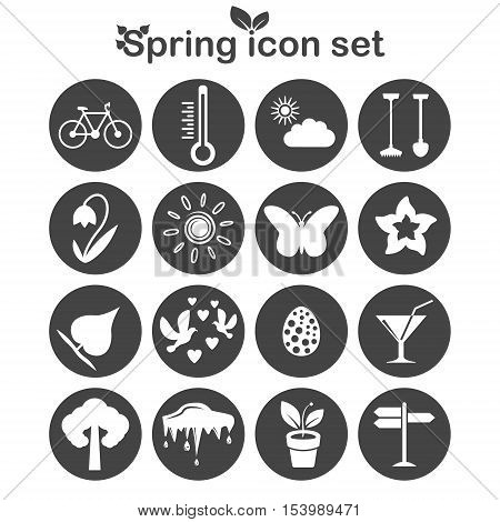 Spring icons set 16 vector icons on dark round pads 2d vector illustration eps 8
