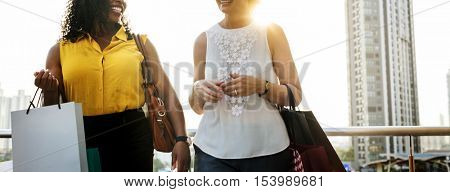 Woman Femininity Shopping Relax Concept