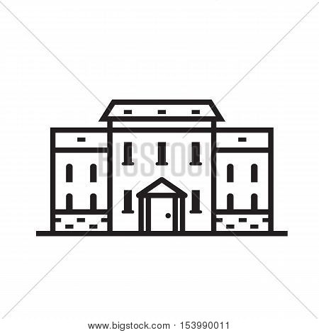 Europe street and house emblem. British mansion in townhouse emblem. Historic town house logo. English cottage outline design.