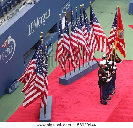 NEW YORK - SEPTEMBER 11, 2016: The Color Guard of the US Marine Corps during the opening ceremony of the US Open 2016 men's final at Billie Jean King National Tennis Center in New York
