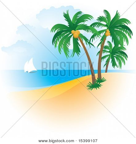 The beach. Vector.