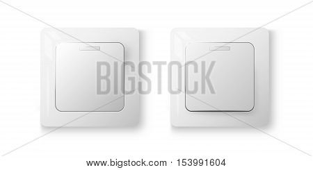White realistic switches on and off positions 3d vector illustration on white background eps 10