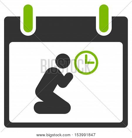 Pray Time Calendar Day glyph pictogram. Style is flat graphic bicolor symbol, eco green and gray colors, white background.