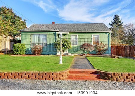 Green Suburban Bungalow Style Home