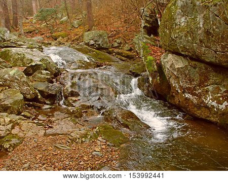 Robinson River rapids flow through Whiteoak Canyon in Shenandoah National Park Virginia.