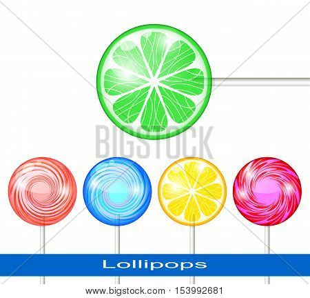 Set of Lollipops on a White Background. Lollipops Multicolored.