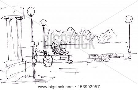 Instant sketch boy near balustrade with bicycle