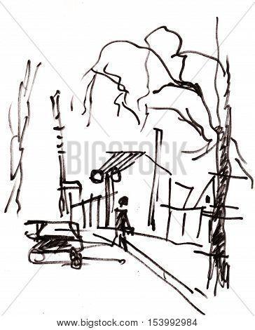 Instant sketch, car near the train barier