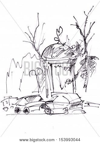 Instant sketch arbour near road with stopper
