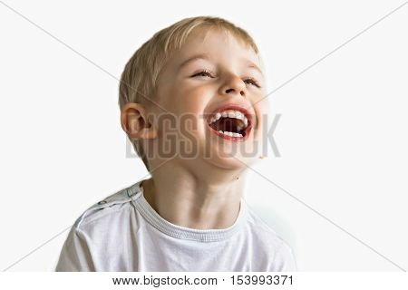 Cheerful Boy Laughing Showing White Teeth, Very Soft Focus