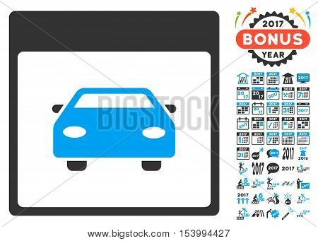 Automobile Car Calendar Page icon with bonus calendar and time management clip art. Glyph illustration style is flat iconic symbols, blue and gray colors, white background.