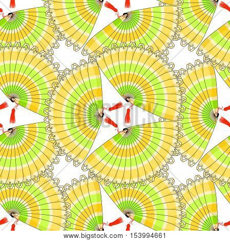 Japanese Fan Seamless Pattern With Colored Stripes Circle. Vector Illustration