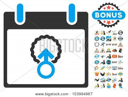Cell Penetration Calendar Day pictograph with bonus calendar and time management images. Glyph illustration style is flat iconic symbols, blue and gray colors, white background.