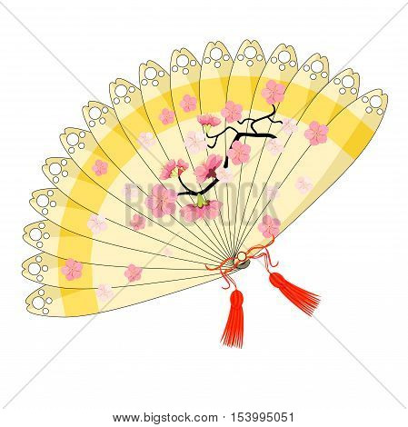Japanese Fan With A Branch Of Cherry Blossoms, Sakura. Vector Illustration