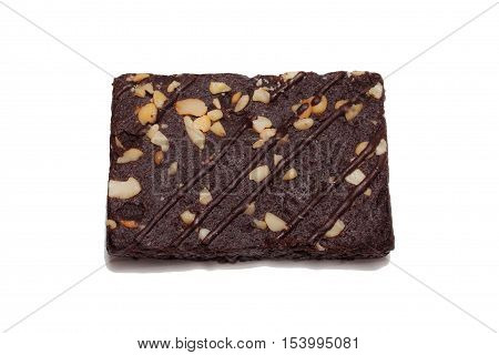 Healthy Chocolate walnut brownies on white background