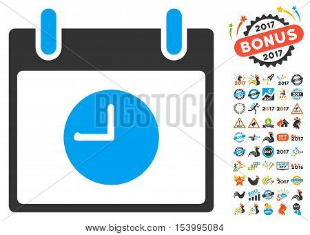 Clock Calendar Day pictograph with bonus calendar and time management clip art. Glyph illustration style is flat iconic symbols, blue and gray colors, white background.