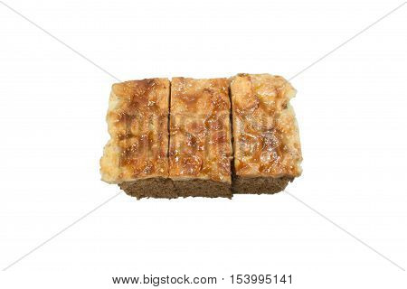 Isolate Toffee Cake slice on White Background