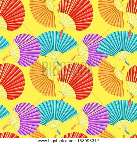 Seamless Pattern Colorful Japanese Fan Of On A Yellow Background. Vector Illustration
