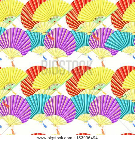 Seamless Pattern Colorful Japanese Fan. Vector Illustration