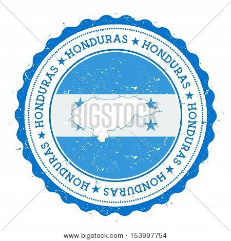 Honduras Map And Flag In Vintage Rubber Stamp Of State Colours. Grungy Travel Stamp With Map And Fla
