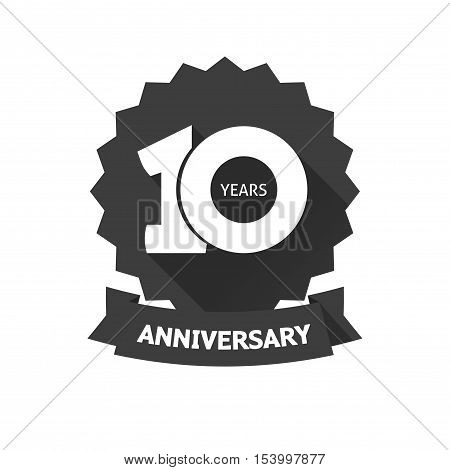 10 years anniversary sticker vector icon, 10th year birthday logo label, black and white stamp isolated on white background