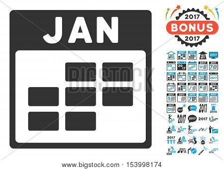 January Calendar Grid icon with bonus calendar and time management clip art. Glyph illustration style is flat iconic symbols, blue and gray colors, white background.