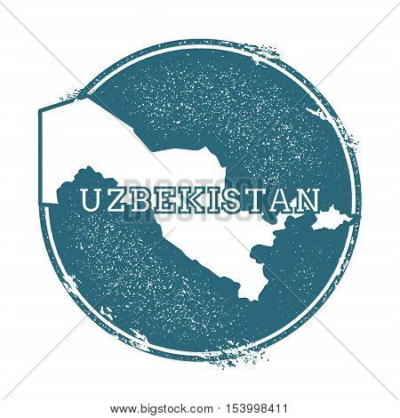 Grunge Rubber Stamp With Name And Map Of Uzbekistan, Vector Illustration. Can Be Used As Insignia, L