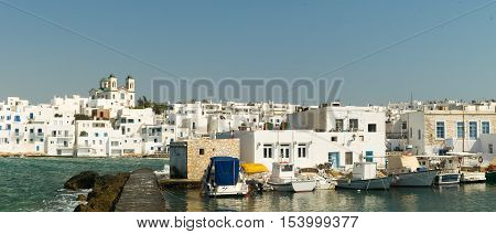 Graphic Naoussa's port at Paros island in Greece. A famous touristic destination.