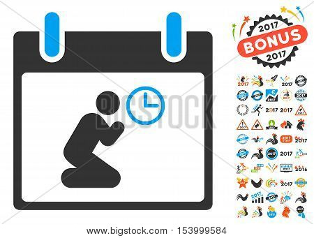 Pray Time Calendar Day pictograph with bonus calendar and time management clip art. Glyph illustration style is flat iconic symbols, blue and gray colors, white background.