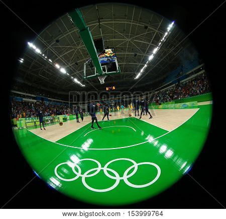 RIO DE JANEIRO, BRAZIL - AUGUST 10, 2016: Team United States warms up for group A basketball match between Team USA and Australia of the Rio 2016 Olympic Games at Carioca Arena 1