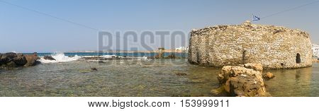 Kastelli castle of Paros island in Greece. An old Venetian fortress at Naoussa village. Panoramic view.