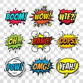 Vector comic speach bubble with prase Boom, Wow, WTF, Oh, Bang, Oops, Pow, OMG, Yeah. Comic cartoon sound bubble speech set on transparent background. poster