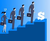 Gender inequality on career ladder business concept Astonished business lady looks on steps of career ladder occupied by men. Concept of career inequality disparity gender differences. Vector. poster