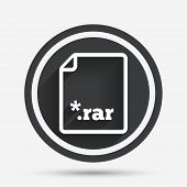 Archive file icon. Download compressed file button. RAR zipped file extension symbol. Circle flat button with shadow and border. Vector poster