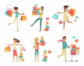 Set of shopping people vector concepts. Flat design. Collection of smiling women and man characters with gift boxes, paper bags and trolley with goods. Pleasure of purchase. For sales and discounts poster