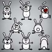 Funny Cartoon Rabbit  - Bunny symbol of new  2011 year and easter symbol - vector sketch clip-art poster