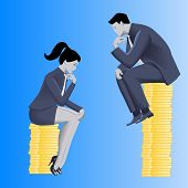 Gender inequality on payment business concept. Businessman looks from top of coins pile on business lady sitting on lesser pile.Concept of career inequality disparity gender differences foul play poster