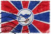 Flag of Melekeok State Palau old postage stamp poster