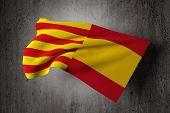 3d rendering of a catalonia and spain mixed flags symbol of the attempt of secession of catalonia poster