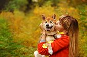 Girl kisses a Shiba Inu dog in autumn park. Pedigree dog. Funny animals and their owners. Riot of colors of nature. Outdoor Activities. poster