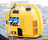 portable generator power yellow power supply mobile poster