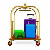 Hotel Luggage Trolley isolated on white background. 3D render poster