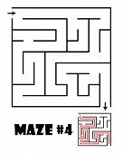 Labyrinth or maze conundrum for kids with answer. Children funny puzzle game. Entry and exit. Vector illustration isolated on a light background. poster