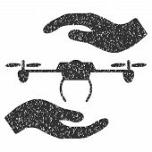Airdrone Care Hands grainy textured icon for overlay watermark stamps. Flat symbol with dust texture. Dotted vector gray ink rubber seal stamp with grunge design on a white background. poster
