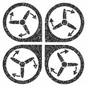 Copter Screws Rotation grainy textured icon for overlay watermark stamps. Flat symbol with dirty texture. Dotted vector gray ink rubber seal stamp with grunge design on a white background. poster