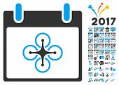 Airdrone Calendar Day icon with bonus calendar and time management pictogram set. Glyph illustration style is flat iconic symbols, blue and gray colors, white background. poster