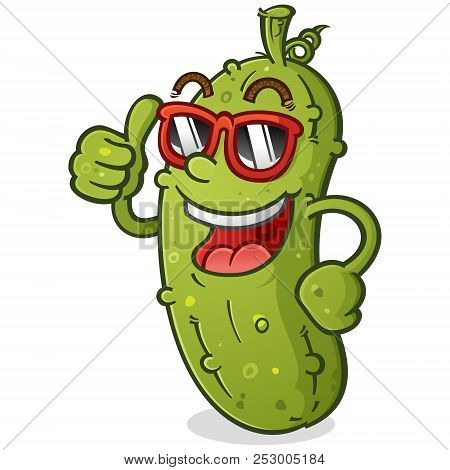 A Groovy Pickle Cartoon Character With A Bad Attitude Wearing Sunglasses And Giving An Enthusiastic