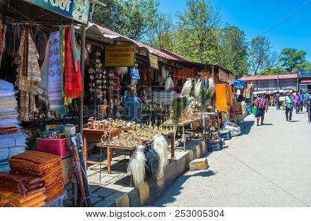 Kathmandu, Nepal - 13.04.2018: Market Stalls In The Pashupatinath Temple 13 April 2018, Kathmandu, N