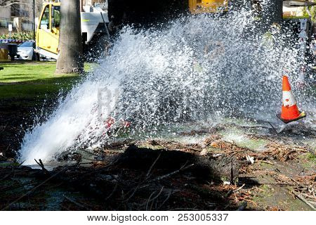 Industrial Water Pipe Burst In City Park